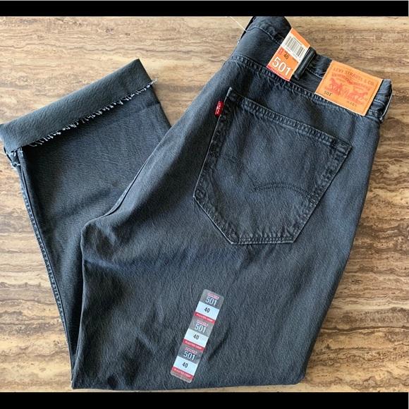 8800506bed0 Levi's Jeans | Levis 501 Pleated Crop Lt Black 40w 27 12l | Poshmark